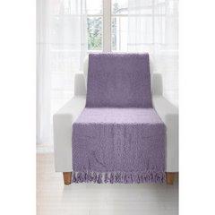 Koc miękki pled z frędzlami na fotel jednokolorowy fioletowy 70x150cm - 70 X 150 cm - fioletowy 2