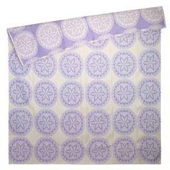 Narzuta dwustronna okrągły ornamentowy wzór 80%bawełna 220x240cm - 220 X 240 cm - biały/fioletowy 4