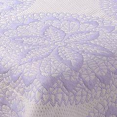 Narzuta dwustronna okrągły ornamentowy wzór 80%bawełna 220x240cm - 220 X 240 cm - biały/fioletowy 5