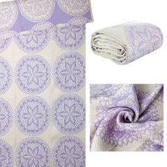 Narzuta dwustronna okrągły ornamentowy wzór 80%bawełna 220x240cm - 220 X 240 cm - biały/fioletowy 6