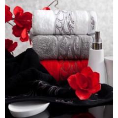 Ręcznik ozdobna bordiura wrzosowy 70x140cm - 70 X 140 cm - liliowy 7