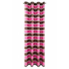 Zasłona poziome atłasowe pasy+organza różowy+brązowy przelotki 140x250cm - 140 X 250 cm - ciemnoróżowy 5