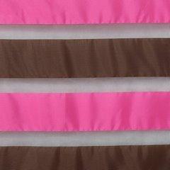 Zasłona poziome atłasowe pasy+organza różowy+brązowy przelotki 140x250cm - 140x250 - różowy 3