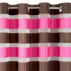Zasłona poziome atłasowe pasy+organza różowy+brązowy przelotki 140x250cm - 140 X 250 cm - ciemnoróżowy 4