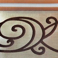 LISA BEŻOWA ZASŁONA Z ORGANTYNY W PASY 140x250 cm NA PRZELOTKACH - 140 X 250 cm - beżowy/brązowy 3