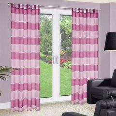 Zasłona poziome pasy atłas różowa 140x250cm - 140x250 - różowy 1