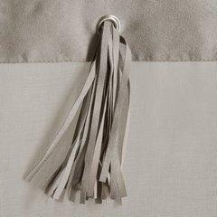 Szara zasłona z rzemykami na szelkach w stylu boho 140x250 cm - 140 X 250 cm - szary 4