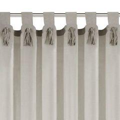 Szara zasłona z rzemykami na szelkach w stylu boho 140x250 cm - 140 X 250 cm - szary 6