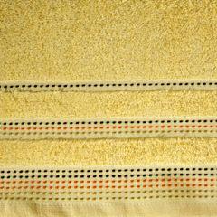 Ręcznik z bawełny z ozdobnym stebnowaniem 70x140cm - 70 X 140 cm - żółty 4