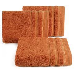 Ręcznik z bawełny z ozdobnym stebnowaniem 70x140cm - 70 X 140 cm - pomarańczowy 1