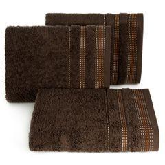 Ręcznik z bawełny z ozdobnym stebnowaniem 30x50cm - 30 X 50 cm - brązowy 1
