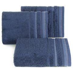 Ręcznik z bawełny z ozdobnym stebnowaniem 70x140cm - 70 X 140 cm - granatowy 1