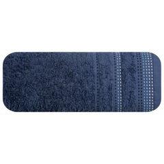 Ręcznik z bawełny z ozdobnym stebnowaniem 70x140cm - 70 X 140 cm - granatowy 2