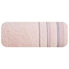 Ręcznik z bawełny z ozdobnym stebnowaniem 70x140cm - 70 X 140 cm - różowy 2