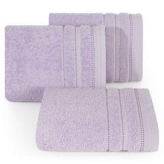 Ręcznik z bawełny z ozdobnym stebnowaniem 50x90cm - 50 X 90 cm - liliowy 1