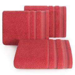Ręcznik z bawełny z ozdobnym stebnowaniem 30x50cm - 30 X 50 cm - czerwony 1