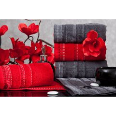Ręcznik z bawełny z ozdobnym stebnowaniem 50x90cm - 50 X 90 cm - czerwony 3