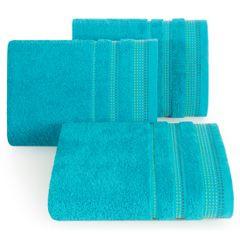 Ręcznik z bawełny z ozdobnym stebnowaniem 30x50cm - 30 X 50 cm - turkusowy 1