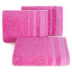 Ręcznik z bawełny z ozdobnym stebnowaniem 50x90cm - 50 X 90 cm - różowy 1