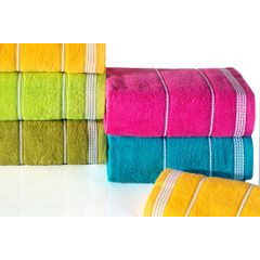 Ręcznik z bawełny ze sznurkowym zdobieniem 70x140cm - 70 X 140 cm - pomarańczowy 8