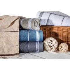 Ręcznik z bawełny ze sznurkowym zdobieniem 70x140cm - 70 X 140 cm - oliwkowy 6