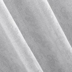 Zasłona gotowa biała ze srebrnym napisem 140x250 cm przelotki - 140x250 - biały / srebrny 2