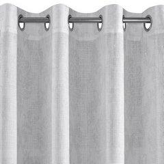 Zasłona gotowa biała ze srebrnym napisem 140x250 cm przelotki - 140x250 - biały / srebrny 4
