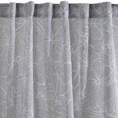Zasłona popielata z kwiatowym wzorem 140x250 cm szelki - 140x250 - szary / biały 3