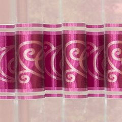 Zasłona w pasy z ornamentem organza+satyna przelotki różowa 140x250cm - 140x250 - amarantowy 3