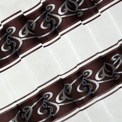 LISA BRĄZOWA ZASŁONA Z ORGANTYNY W PASY 140x250 cm NA PRZELOTKACH - 140 X 250 cm - brązowy/niebieski 1