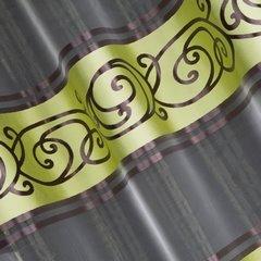 Zasłona w pasy z ornamentem organza+satyna zielony przelotki 140x250cm - 140 X 250 cm - zielony/brązowy 1