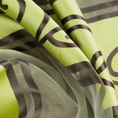LISA ZIELONA ZASŁONA Z ORGANTYNY W PASY 140x250 cm NA PRZELOTKACH - 140 X 250 cm - zielony/brązowy 2
