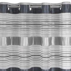Zasłona w poziome srebrne pasy organza+atłas przelotki 140x250cm - 140 X 250 cm - stalowy 3