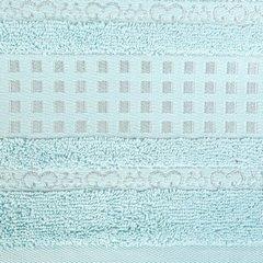 Ręcznik z haftowaną bordiurą w kosteczki błękitny 50x90 cm - 50 X 90 cm - niebieski 7