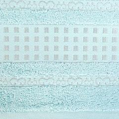 Ręcznik z haftowaną bordiurą w kosteczki błękitny 50x90 cm - 50 X 90 cm - niebieski 4