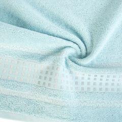 Ręcznik z haftowaną bordiurą w kosteczki błękitny 50x90 cm - 50 X 90 cm - niebieski 5