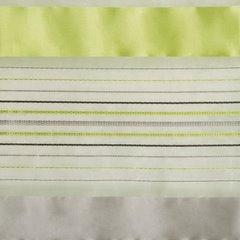 Zasłona w poziome zielone i szare pasy organza+atłas przelotki 140x250cm - 140 X 250 cm - zielony 4