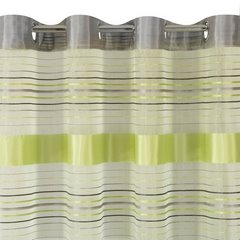 Zasłona w poziome zielone i szare pasy organza+atłas przelotki 140x250cm - 140 X 250 cm - zielony 6