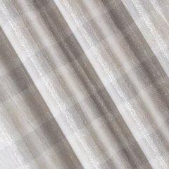 Zasłona kremowa o płóciennym splocie z dodatkiem błyszczącej nici 140x250cm przelotki - 140 X 250 cm - ecru/szary 3