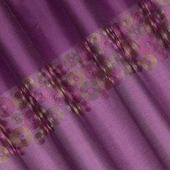 Śliwkowa zasłona z pasem haftowanych kółek 140x250 przelotki - 140 X 250 cm - fioletowy 3