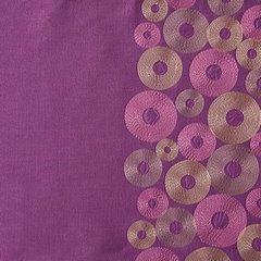 Śliwkowa zasłona z pasem haftowanych kółek 140x250 przelotki - 140 X 250 cm - fioletowy 4
