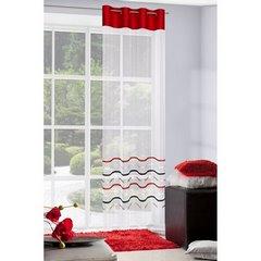 Zwiewna firanka kolorowe wąskie paski 140x250 przelotki - 140 X 250 cm - kremowy/czerwony 2