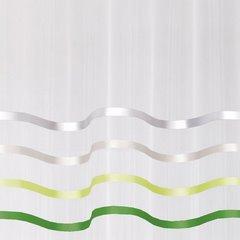 Zwiewna firanka paski kremowe i zielone 140x250 przelotki - 140 X 250 cm - kremowy 4