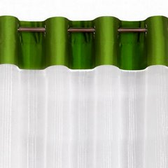 Zwiewna firanka paski kremowe i zielone 140x250 przelotki - 140x250 - Kremowy / Zielony 3