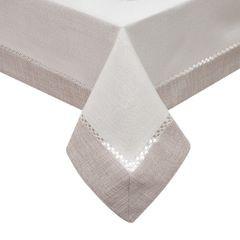 Obrus z mereżką biało - srebrny 140 x 200 cm - 140 X 200 cm - biały/srebrny 1