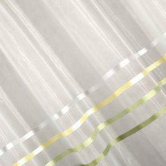 Zwiewna firanka paski kremowe i zielone 295x250 na taśmie - 300 X 250 cm - kremowy 3