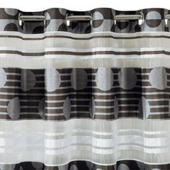 Zasłona poziome pasy wzorzysta przelotki popielato-czarna 140x250cm - 140x250 - czarny 3