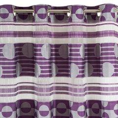 Zasłona poziome pasy wzorzysta przelotki fiolet 140x250cm - 140 X 250 cm - fioletowy 6