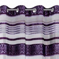 Zasłona białe i fioletowe pasy 140x250 przelotki - 140x250 - Fioletowy 2