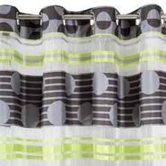 Zasłona poziome pasy wzorzysta zieleń przelotki 140x250cm - 140x250 - szary / zielony 4